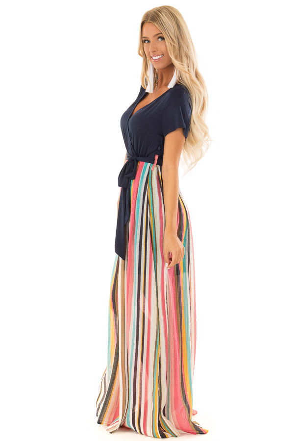 Multi Color Striped Short Sleeve Maxi Dress with Tie Detail side full body