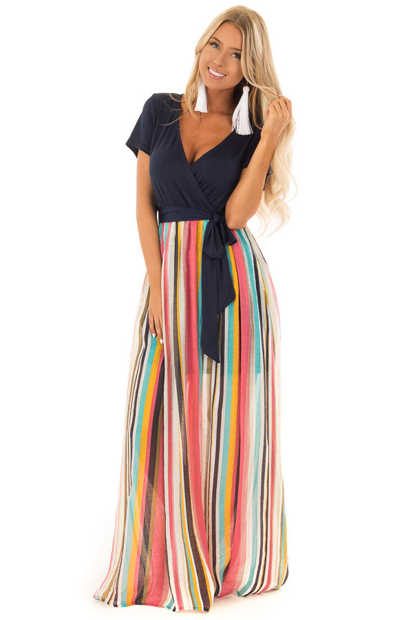 Multi Color Striped Short Sleeve Maxi Dress with Tie Detail front full body