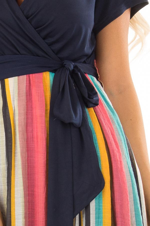 Multi Color Striped Short Sleeve Maxi Dress with Tie Detail detail
