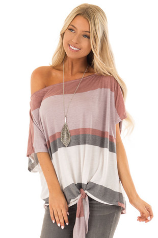 Multicolor Striped Off Shoulder Top with Tie Detail front close up