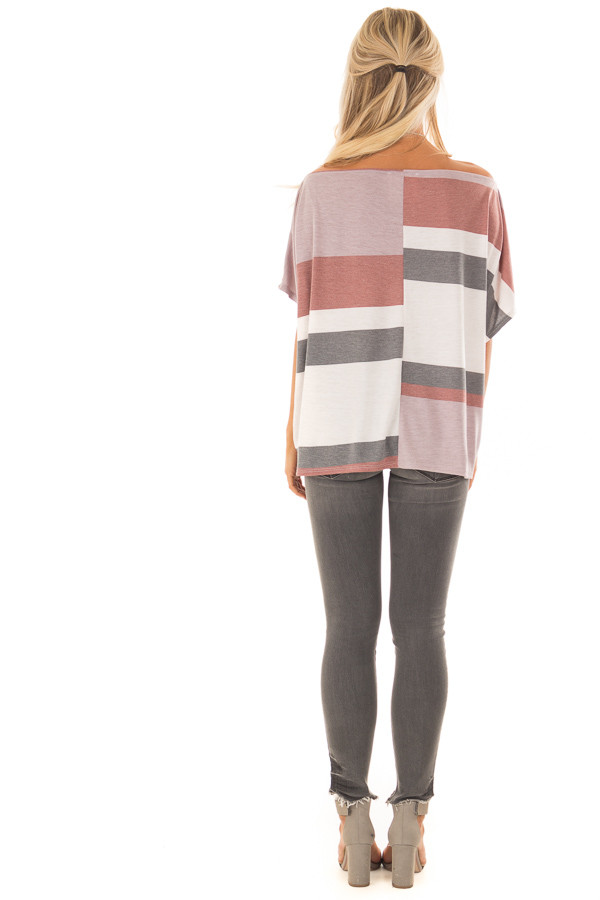 Multicolor Striped Off Shoulder Top with Tie Detail back full body