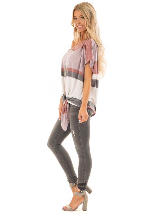 Multicolor Striped Off Shoulder Top with Tie Detail side full body