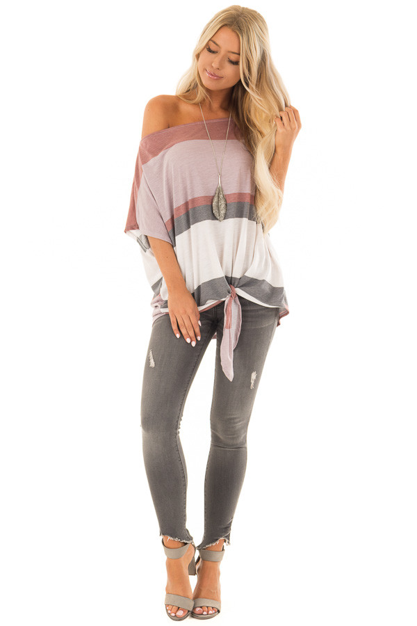 Multicolor Striped Off Shoulder Top with Tie Detail front full body