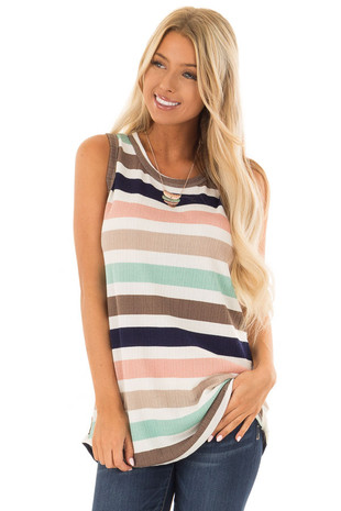 Mint and Blush Striped Sleeveless Tunic front close up