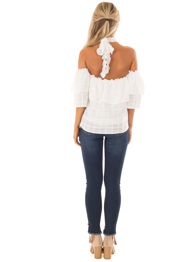Ivory Ruffle Halter Neck Top with Off the Shoulder Sleeves back full body