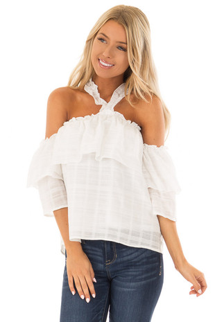 Ivory Ruffle Halter Neck Top with Off the Shoulder Sleeves front close up