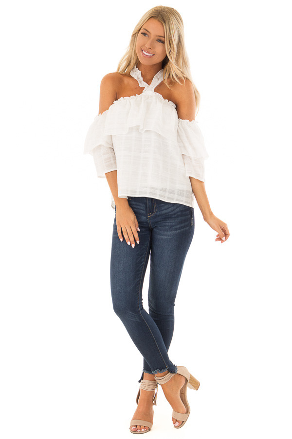 Ivory Ruffle Halter Neck Top with Off the Shoulder Sleeves front full body