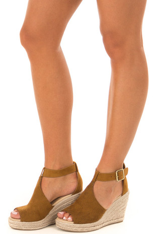 Light Chocolate Faux Suede Peep Toe Braided Wedge front side view