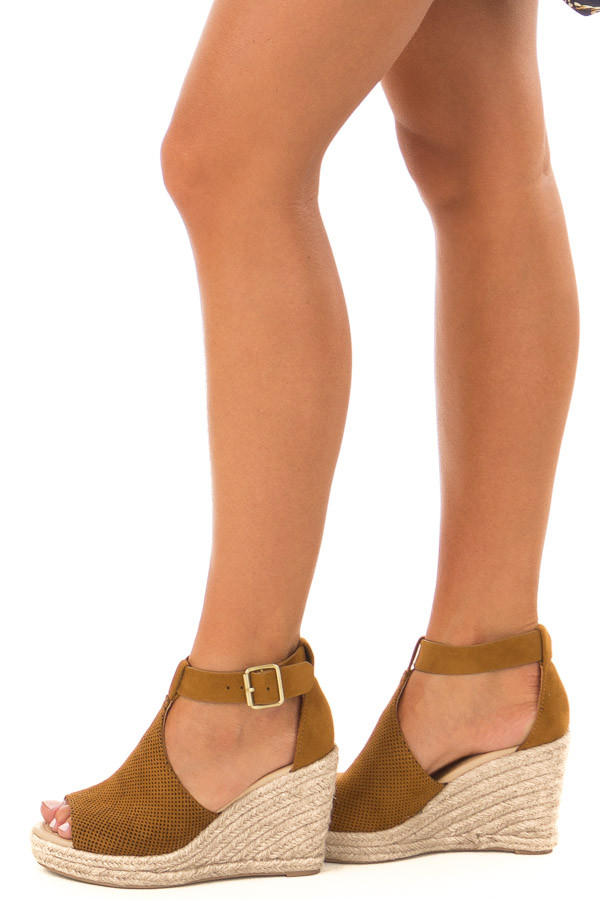 Light Chocolate Faux Suede Peep Toe Braided Wedge side view