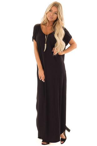 Obsidian Maxi Dress with Side Pockets front full body