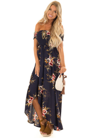 Midnight Navy Floral Off the Shoulder High Low Dress front full body