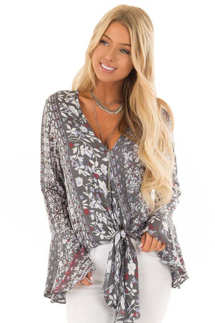 Dusty Olive Floral Print Bell Sleeve Top with Tie Detail front close up