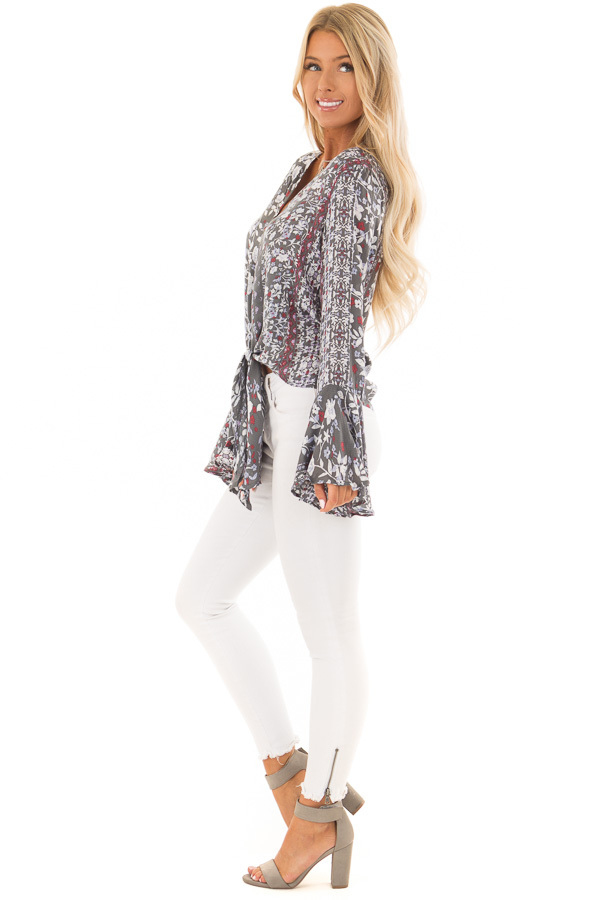 Dusty Olive Floral Print Bell Sleeve Top with Tie Detail side full body