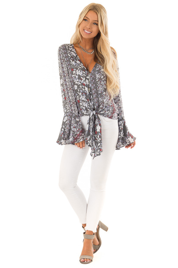 Dusty Olive Floral Print Bell Sleeve Top with Tie Detail front full body