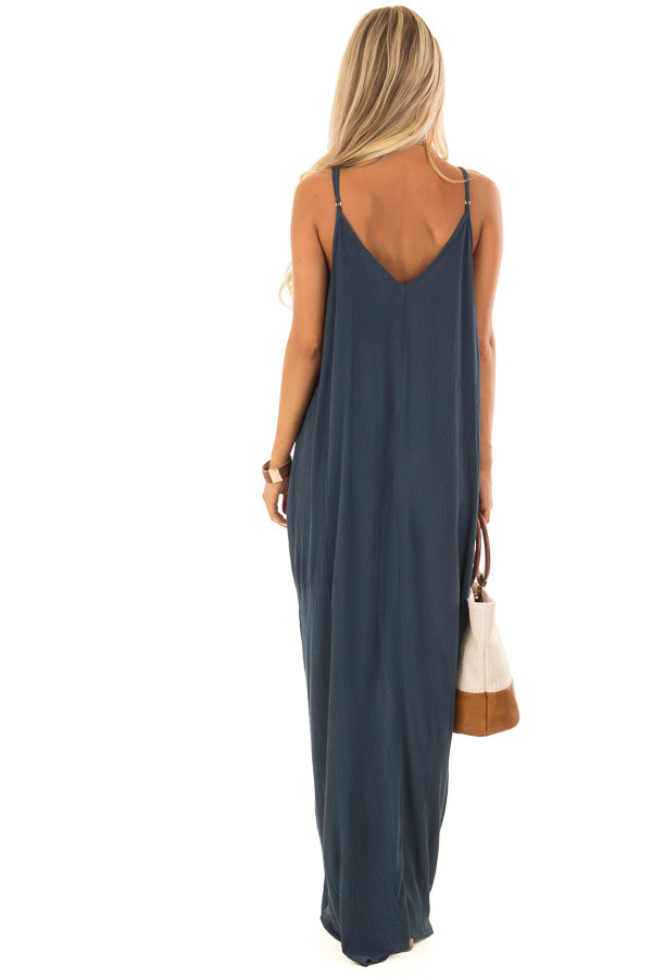 Dark Teal Sleeveless Cocoon Maxi Dress with Side Pockets back full body