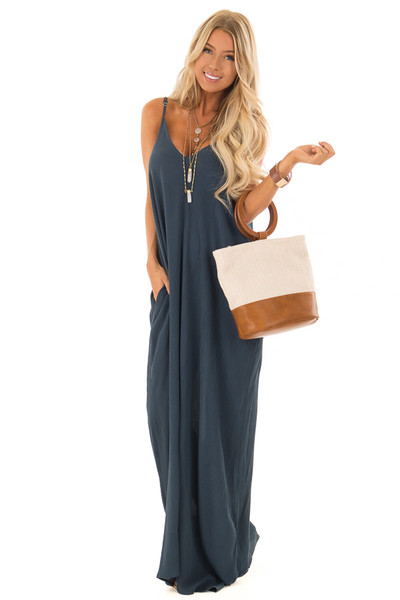 Dark Teal Sleeveless Cocoon Maxi Dress with Side Pockets front full body