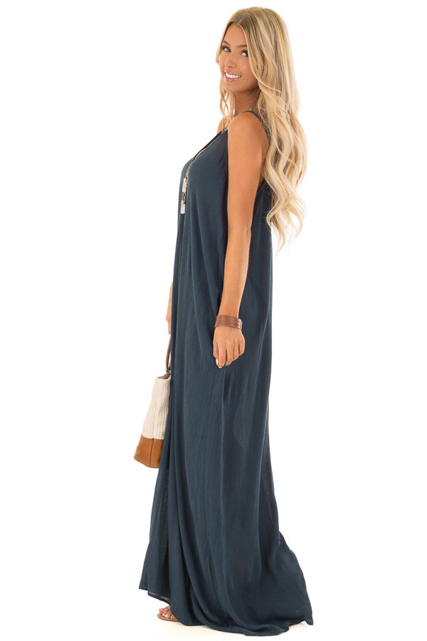 Dark Teal Sleeveless Cocoon Maxi Dress with Side Pockets side full body