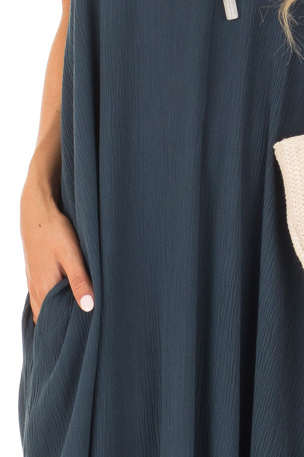 Dark Teal Sleeveless Cocoon Maxi Dress with Side Pockets detail