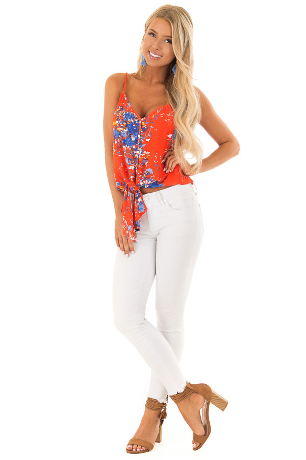 Fire Red Floral Print Top with Front Tie Detail front full body
