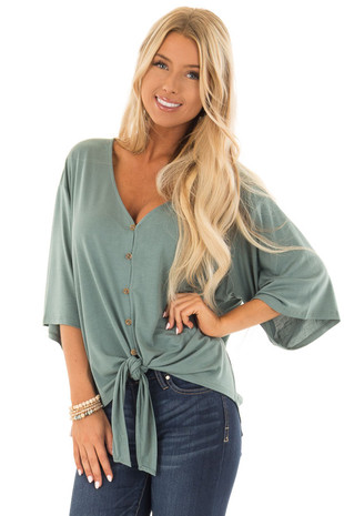 Sea Green Button Up Top with 3/4 Sleeve and Front Tie Detail front close up