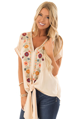 Desert Sand Embroidered Short Sleeve Top with Front Tie front close up