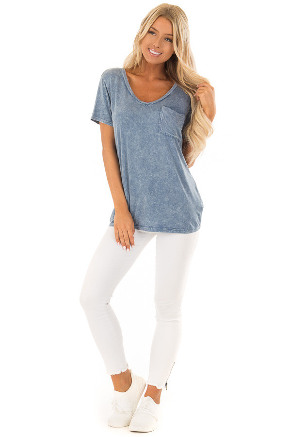 Denim Blue Mineral Wash Top with Front Pocket front full body