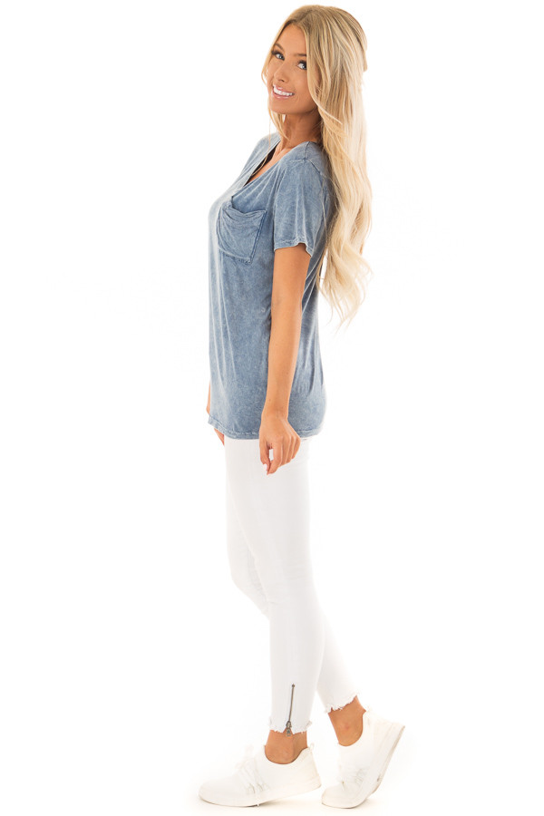 Denim Blue Mineral Wash Top with Front Pocket side full body