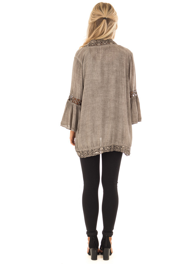Mocha Open Front Kimono with Lace Trim and Bell Sleeves back full body