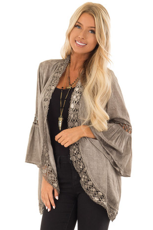 Mocha Open Front Kimono with Lace Trim and Bell Sleeves front close up