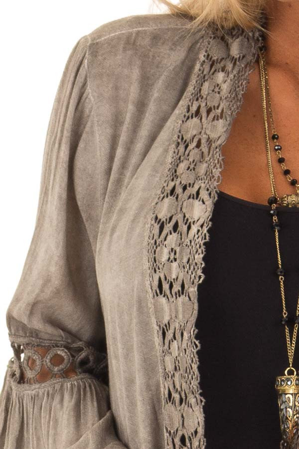 Mocha Open Front Kimono with Lace Trim and Bell Sleeves detail