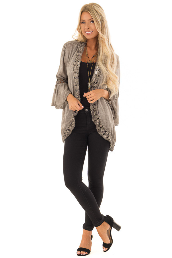 Mocha Open Front Kimono with Lace Trim and Bell Sleeves front full body
