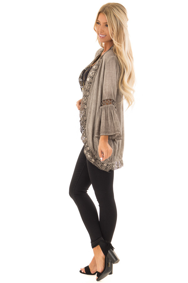 Mocha Open Front Kimono with Lace Trim and Bell Sleeves side full body