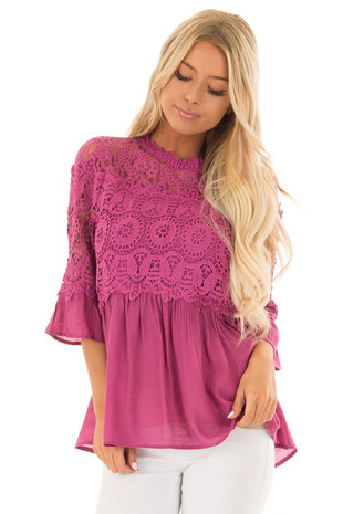Berry Drop Waist Top with Crochet Lace Overlay front close up