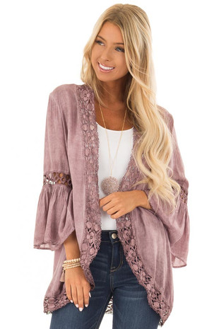 Dusty Mauve Open Front Bell Sleeve Kimono with Lace Trim front close up