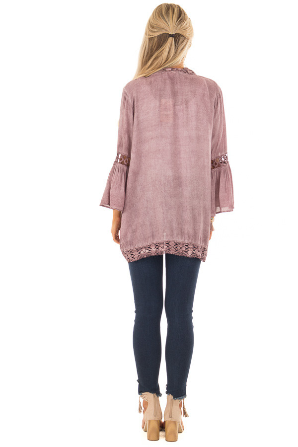 Dusty Mauve Open Front Bell Sleeve Kimono with Lace Trim back full body
