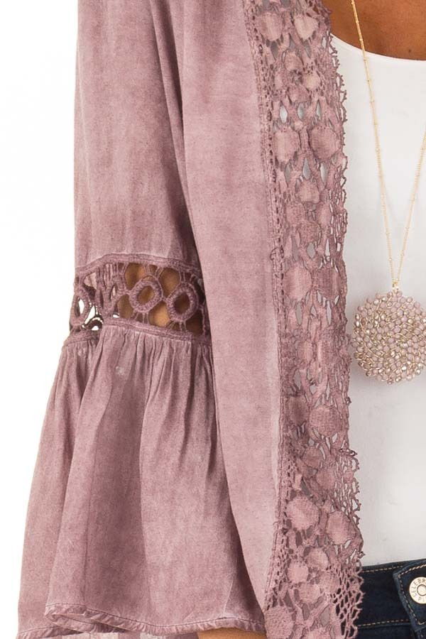 Dusty Mauve Open Front Bell Sleeve Kimono with Lace Trim detail