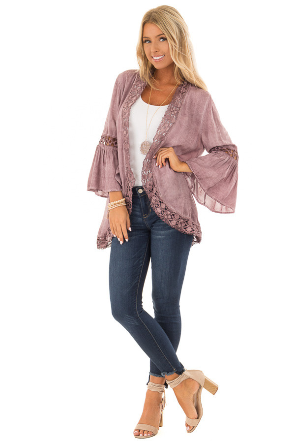 Dusty Mauve Open Front Bell Sleeve Kimono with Lace Trim front full body