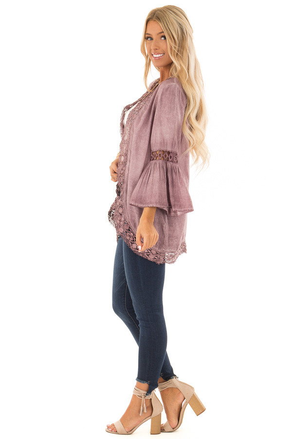Dusty Mauve Open Front Bell Sleeve Kimono with Lace Trim side full body