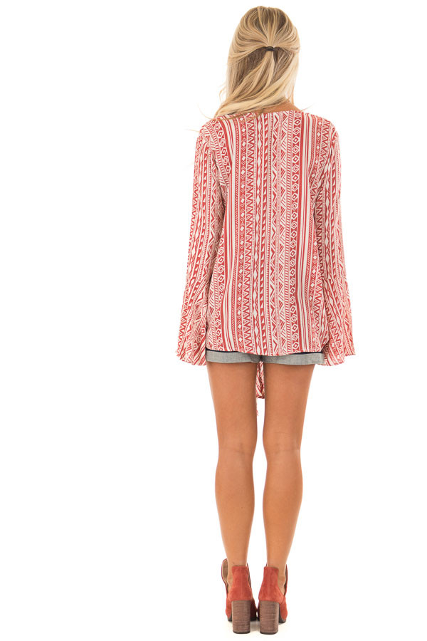 Burnt Orange and Cream Tribal Print Long Bell Sleeve Top back full body