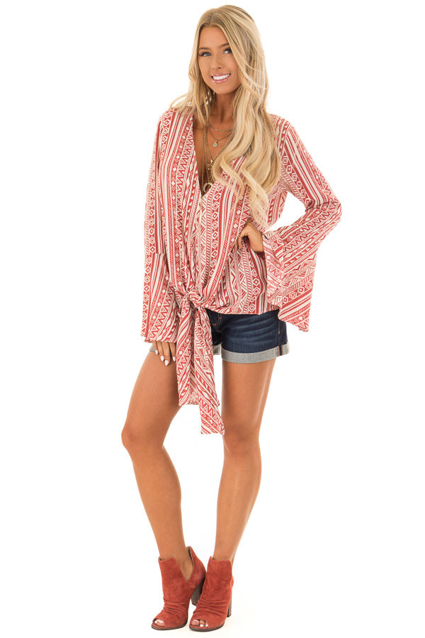 Burnt Orange and Cream Tribal Print Long Bell Sleeve Top front full body