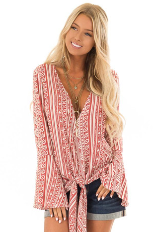 Burnt Orange and Cream Tribal Print Long Bell Sleeve Top front close up