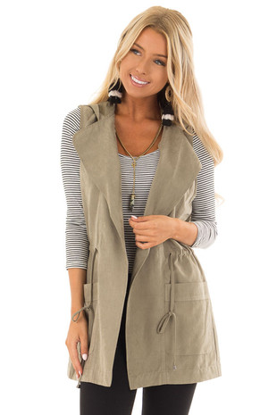 Olive Hoodie Vest with Drawstring and Pockets front close up