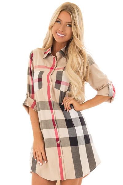 Khaki Plaid Button Up Dress with Pockets front close up