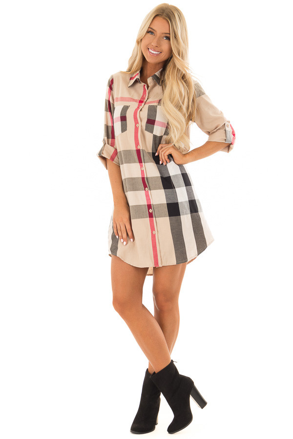 Khaki Plaid Button Up Dress with Pockets front full body
