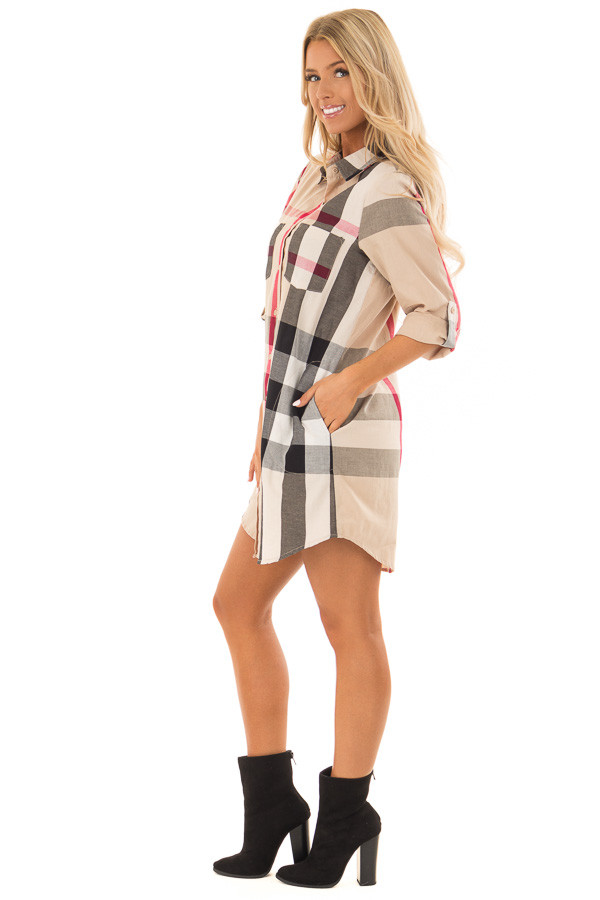 Khaki Plaid Button Up Dress with Pockets side full body