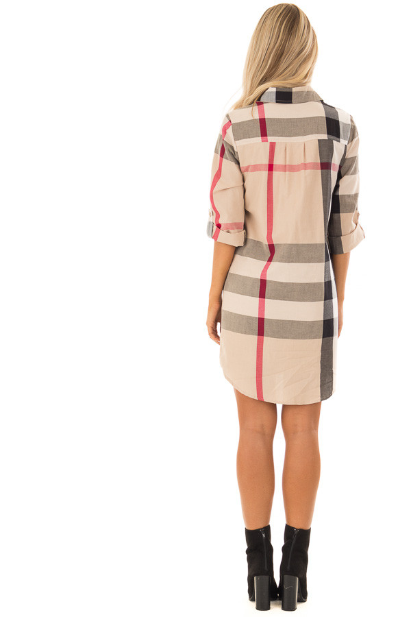 Khaki Plaid Button Up Dress with Pockets back full body