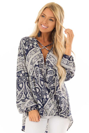 Navy and Cream Paisley Print Long Sleeve Top front close up