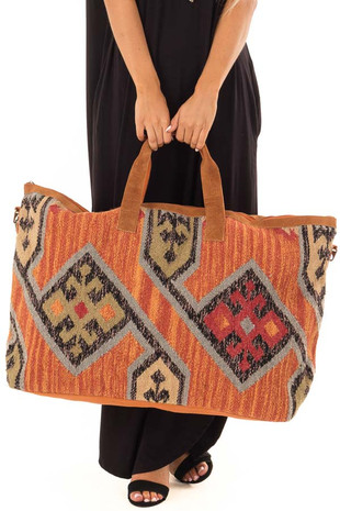 Rust Aztec Inspired Over-sized Tote with Leather Straps detail