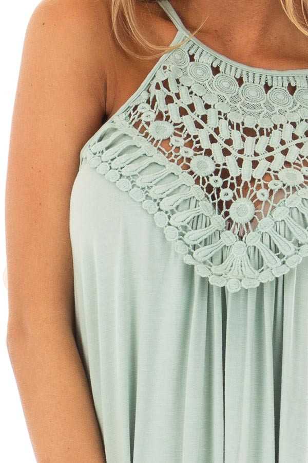 Eucalyptus Dress with Lace Front Detail detail
