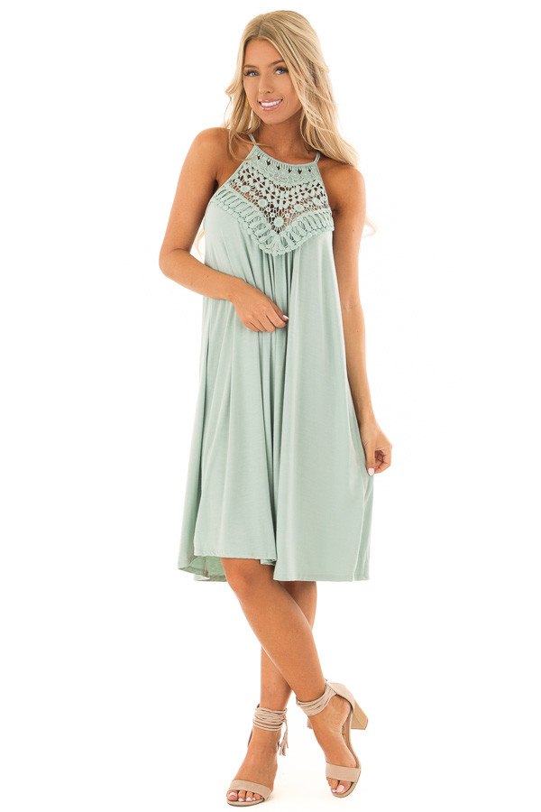 Eucalyptus Dress with Lace Front Detail front full body
